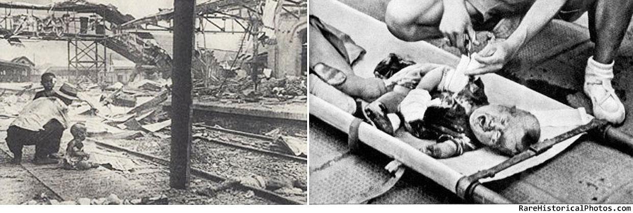 Sanglante samedi – les pleurs de bébé Chinois au milieu des ruines bombardées de Shanghai South Railway Station, 1937