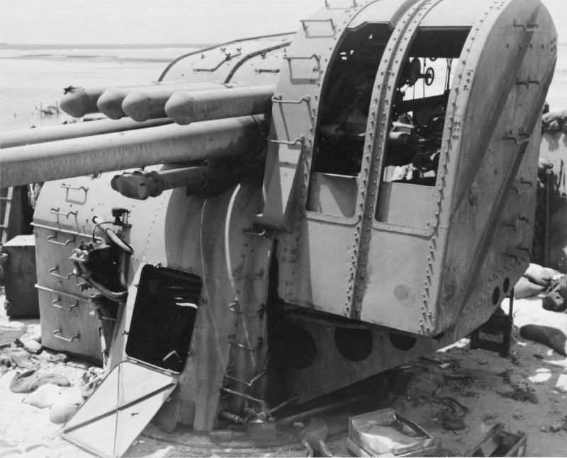 Japonais 127 mm-maritime zd instrument de type 89, sur l'île de Бетио [1]