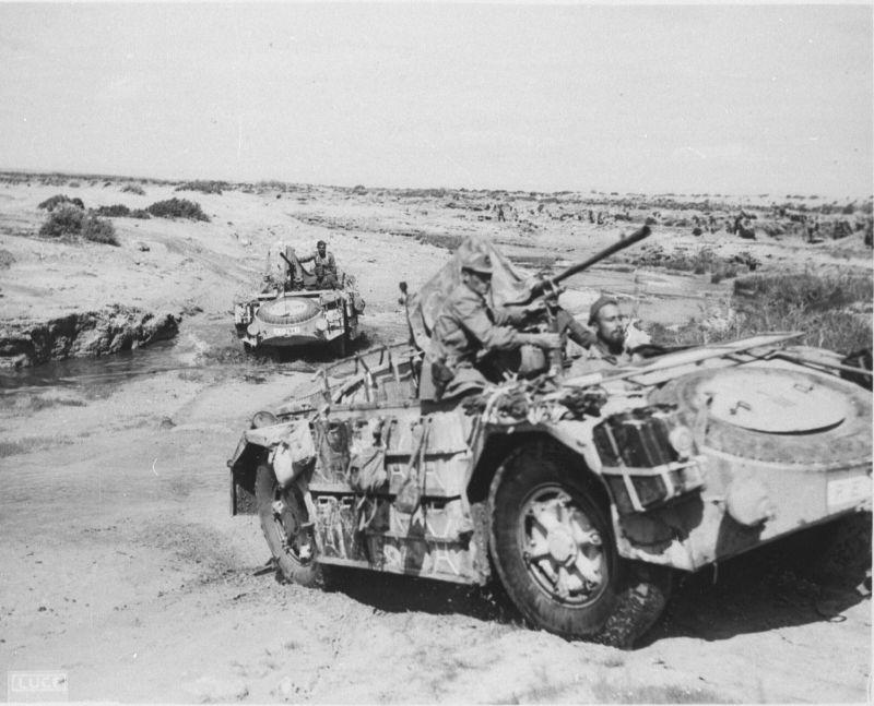 """Véhicules blindés de reconnaissance italiens FIAT-SPA AS42 """"Sahariana"""" en marche en Tunisie"""